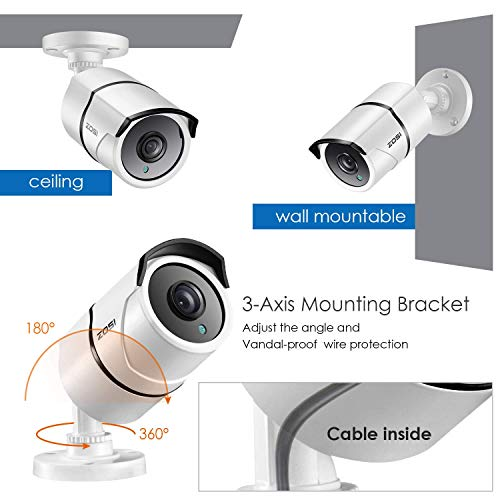 ZOSI 4K 8.0MP Ultra High Definition Security Camera Waterproof TVI Bullet CCTV Camera for Surveillance System Home Office Using