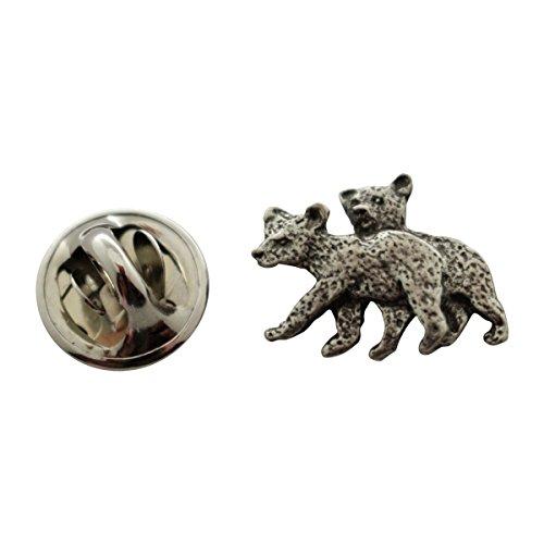 Bear Cub Miniature - Twin Bear Cub Mini Pin ~ Antiqued Pewter ~ Miniature Lapel Pin ~ Sarah's Treats & Treasures