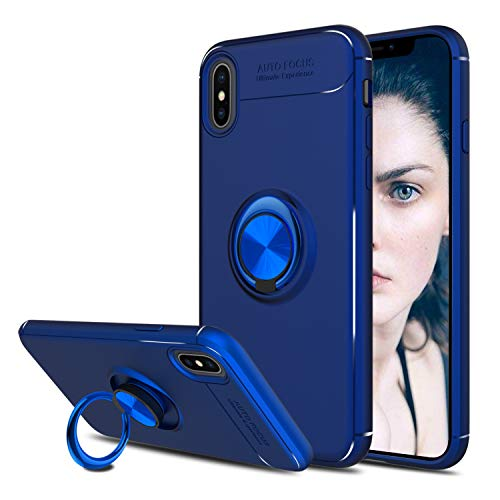 Elegant Choise Compatible with iPhone Xs Max Case, iPhone Xs Plus Case,Hybrid Slim Durable Soft 360 Degree Rotating Ring Kickstand Protective Case with Magnetic Case Cover(Blue)