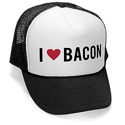 Megashirtz - I Heart Bacon - Vintage Style Trucker Hat Retro Mesh Cap