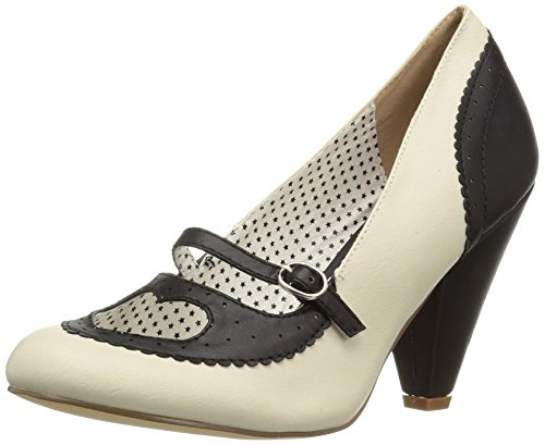 Spectator Couture PIN Cream Black Cone Heel Maryjane up 6 18 Heart Leather Cutout Pump Faux Black POPPY 5q5tnB1F