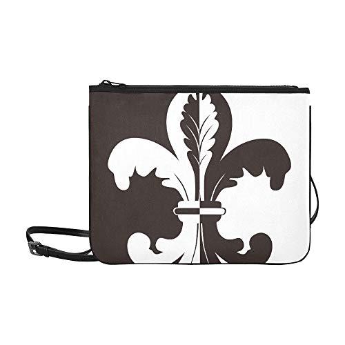 Black And White Illustration Of Fleur De Lis Pattern Custom High-grade Nylon Slim Clutch Bag Cross-body Bag Shoulder Bag
