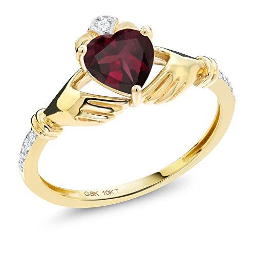 - Gem Stone King 0.78 Ct Irish Celtic Claddagh Red Rhodolite Garnet Diamond Accent 10K Yellow Gold Ring (Size 7)