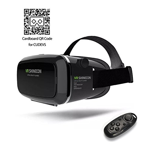 CUDEVS 3D VR Glasses, VR Goggle Headset Virtual Reality with Adjustable Lens for iPhone 6 6s plus Samsung S5 S6 Edge Note 4 5 6 and 3.5-6.0 inch Smartphone for 3D Movies and Games (VR Shinecon Plus)