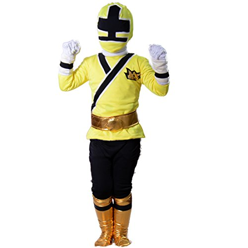 Yellow Power Ranger Costume Child (Wraith of East Power Rangers Costume Kids Cosplay Halloween Spandex Zentai (Small, Yellow))