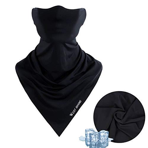 Face Mask for Summer, Bicycle Triangle Ice Silk Balaclava UV Protection Bandana Cycling Breathable Heandband Neck Gaiter ... Black