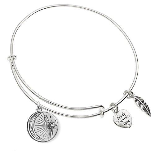 Enni of York I Love You Vintage Moon and Star Charm Expandable Silver-Tone Bangle Bracelet