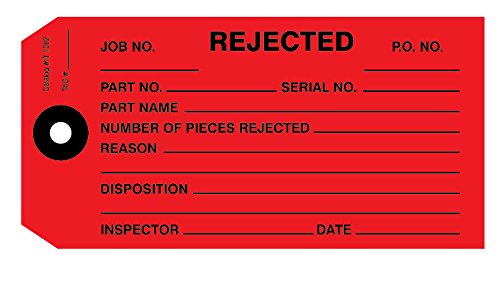 - Rejected Tag, Inspection Tag, Red 4-3/4