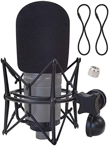 Boseen AT2020 Shock Mount with Foam Windscreen - Anti Vibration Mic Holder Spider Shockmount Holder Compatible with AT2020 AT2020USB+ AT2020USBi Recording Condenser Microphones