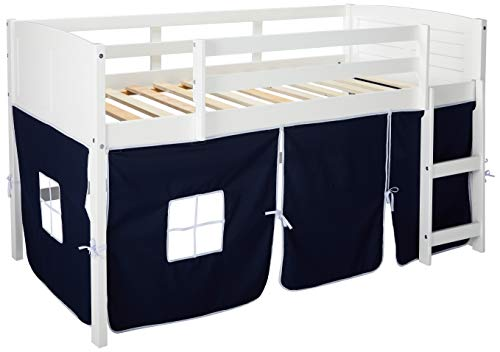 Donco Kids 795-ATW-750C-TB Louver Low Loft Bed with Blue Tent, Twin, ()
