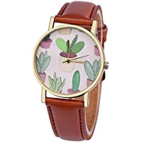 Wensltd Women Classy Cactus Pattern Plant Leather Band Analog Quartz Vogue Wrist Watch (Brown)