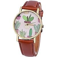Wensltd Women Classy Cactus Pattern Plant Leather Band Analog Quartz Vogue Wrist Watch (Brown)