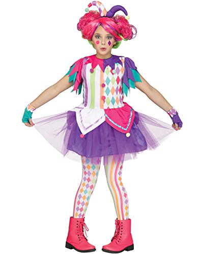 Rainbow Harlequin Jester Kids Costume - Jester Girl Costumes