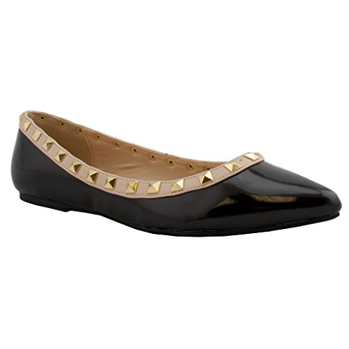 Wild Diva Pippa New Women Pyramid Studded Sandal Ballet Flat Pointy Toe Trends SNJ Shoes