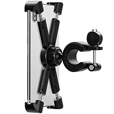 Bike Phone Mount Holder, Universal Cell Phone Bicycle Rack Handlebar?Bicycle Cradle for iPhone 6s 7 8 Plus X Gaxlxy S5 S6 S7,Note 9 8 7 6 5 Motorola, Nexus, LG Android Smartphone with 360 Degree Rotat