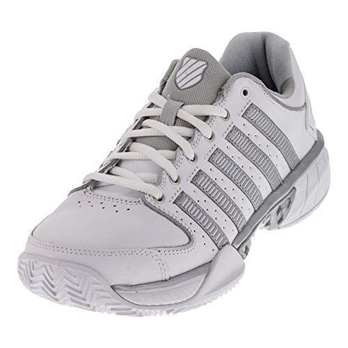 (K-Swiss Women`s Hypercourt Express Leather Clay Tennis Shoes White and Silver (6 - TennisExpress))