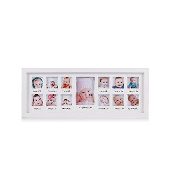 Feibi My First Year Baby Photo Frame Newborn Baby Keepsake Frame Kit Wood Kids Wall Hanging Picture Frame 13 Month Photo Frame (White) – Unique Baby Gifts The Perfect Decorations for Room Wall