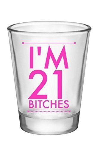 21st Birthday Shot Glass-Turning 21-Pink Tribal Design (Cool Gifts For 21st Birthday)