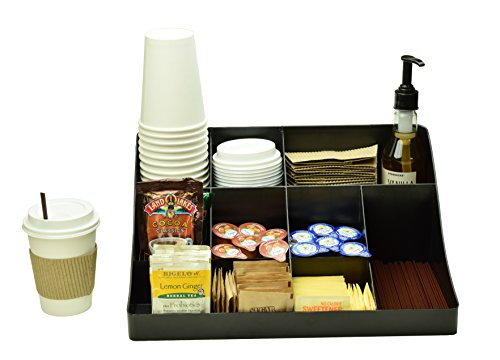 (Black Coffee Condiment Organizer Caddy Tray - Perfect Storage Bin Station Holder For Small Home Table Or Office Breakroom - Box Organizers And Bins Hold Creamer Pod Sugar And Cup on Countertop)