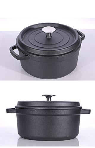 GJJ Cast Iron Pot Cast Iron Cooker, Soup Pot Deepened Uncoated 24Cm,Black,24Cm by GJJ (Image #4)