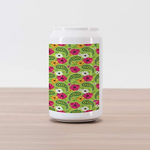 la Can Shape Piggy Bank, Floral Pattern with Vivid Paisley Print Old Vintage Boho Style Print, Ceramic Cola Shaped Coin Box Money Bank for Cash Saving, Pistachio Pink Orange ()