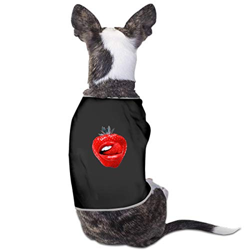 (VNASKL Fashion Unique Custom Pet Costume Fruit Collage Strawberry Red Lips Printing Cute Leisure Teddy Puppy Pet Dog Clothes Dog Pet Pajama Dog Shirt for Large Medium Small Dogs Cats)