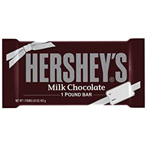 HERSHEY'S Chocolate Bar, Milk Chocolate Candy Bar, 1 Pound Bar