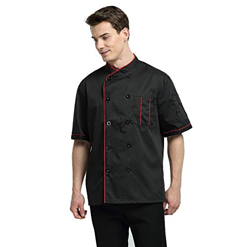 TopTie Unisex Short Sleeve Chef Coat Jacket, Black with Red by TopTie (Image #1)