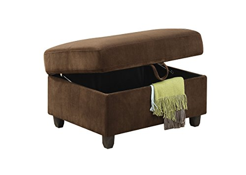 ACME Belville Chocolate Velvet Ottoman with Storage