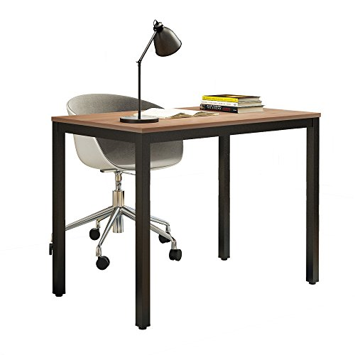 need multi-function computer desk 39.4'' modern workstation for writing, meeting, gaming or students laptop use, teak color surface black legs ac3bb-100-60