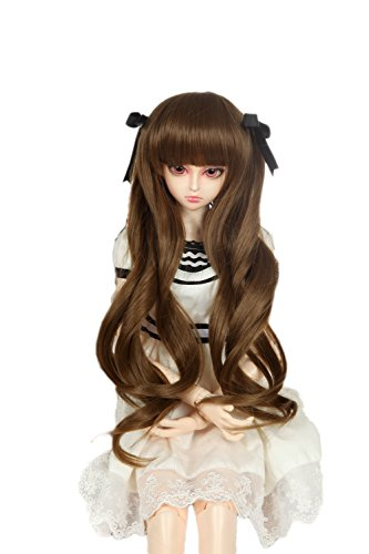 Doll Fur Wig (9-10 inch (22-24cm) 1/3 BJD/SD Doll Wig Lovely Long Curls Hair (Dark Brown))
