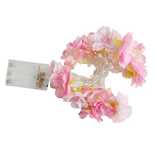 Beginning Rose Flower String Fairy Light Battery Powered Christmas Party Wedding Decoration Lamp (Pink)]()
