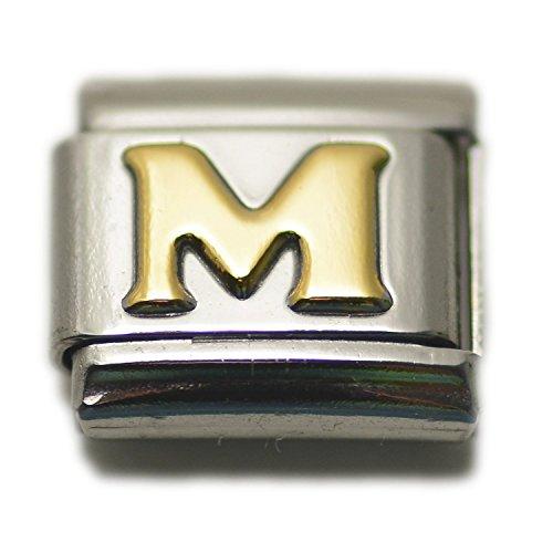 Dolceoro Initial M Letter Alphabet, 9mm Type Italian Modular Charm Bracelet Link - Stainless Steel