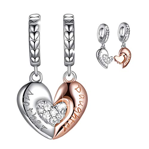 (FOREVER QUEEN Mom Mother Daughter Heart Love Charms Dangle Charm Bead Set Fit Pandora Bracelet for European Snake Chain 925 Sterling Silver Pendant for Necklace)