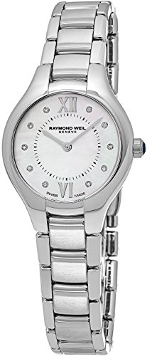 Raymond Weil Noemia Womens Stainless Steel Real Diamond Watch - 27mm Analog Mother of Pearl Face with Sapphire Crystal - Swiss Made Quartz Luxury Diamond Watches For Women 5127-ST-00985