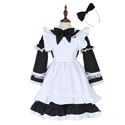 (Icevog Vintage Colonial Pioneer Costumes Cosplay Maid Dress with Apron and Hairband for Women Girl Black)