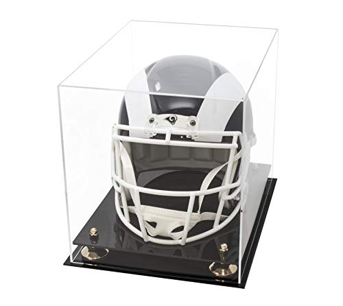(Deluxe Clear Acrylic Football Helmet Display Case with Gold Risers (A002-GR))