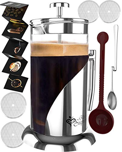 French Press Coffee & Tea Maker Complete Bundle | 34 oz | No Unsafe Plastic Lid Best Coffee Pot with Stainless Steel & Double German Glass ()