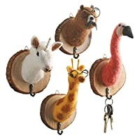 WHAT ON EARTH Felted Animal Head Wall Hooks (Set of 4) - Bear, Flamingo, Giraffe, and Unicorn