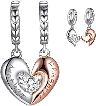 adf7f1edf Forever Queen Mom Mother Daughter Heart Love Charms Dangle Charm Bead Set Fit  Pandora Bracelet for
