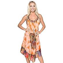 La Leela Soft RAYON CASUAL HAND Tie Dye Neck Ari Short Beach Dress Tunic Coverup