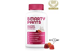 SmartyPants Women's Masters Complete 50+ Vitamins: Gluten Free, Multivitamin & Lutein/Zeaxanthin for Eye Health, Vitamin D3, CoQ10, Omega 3 Fish Oil, 120 Count, (30 Day Supply) - Packaging may vary