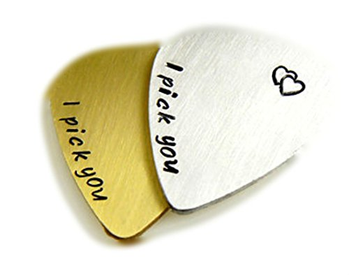 Set - Personalized Guitar Picks, I Pick You, Hand Stamped, Initials, Date, Heart, Anniversary, Boyfriend Grlfriend | Jewelry ()