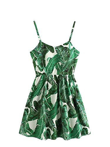 Milumia Women's Plus Palm Tree Print Criss Cross Back Boho Cami Dress Green 2XL (Palm Tree Cross)