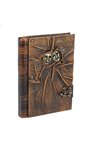 Primal Relic Rare Handcrafted Vintage Leather Journal Top Quality Unlined Art Sketchbook Antique Rustic Travel Diary & Notebook Unique Charm & Clasp Perfect Gift (Large Walnut-Mask) [並行輸入品]   B07H1Z63W6