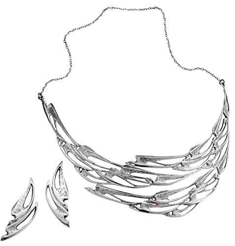 Bijoux Collier et boucles d'oreilles Ensemble dans poinçonnés argent sterling de vol de l'hirondelle Collection