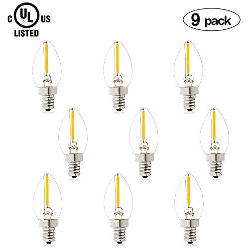Aokairuisi 1W LED Filament C7 Night Light Bulb Salt Lamp Light Bulb Incandescent Bulb 75LM E12 Candelabra Base LED Night Light Warm White (9 Pack)