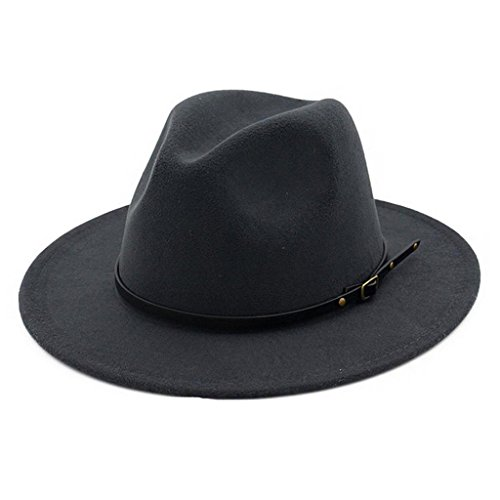 Lisianthus Women Belt Buckle Fedora Hat Dark-Grey
