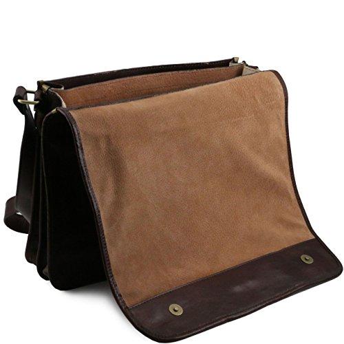 Tuscany Leather TL Messenger - Bolso en piel con bandolera 2 compartimentos - Modelo grande Marrón oscuro Maletines en piel Miel