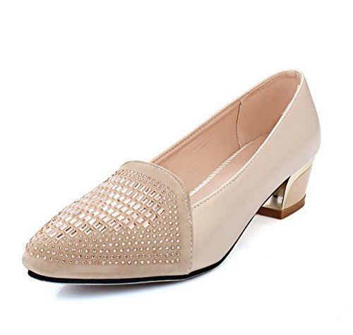 AgooLar Damen Ziehen auf Blend-Materialien Niedriger Absatz Eingelegt Pumps Schuhe Cremefarben